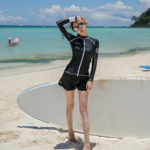 SN18554黑色拉链长袖三件套泳装