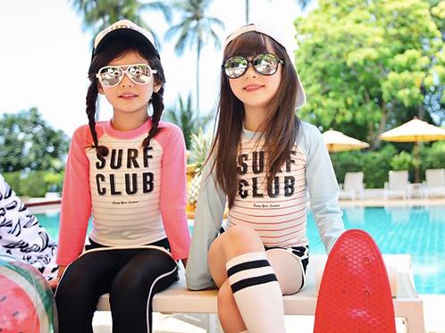 KYS6137 SurfClub字母长袖女童泳装