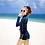 Thumbnail: SN17655 藏蓝拼黄拉链长袖3件套比基尼