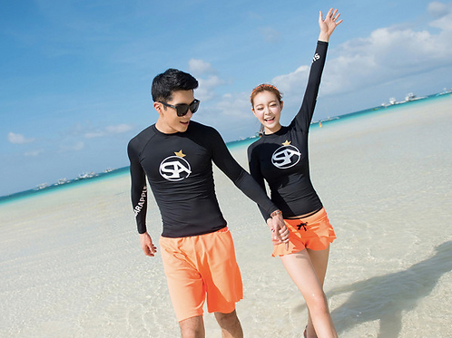 RML1737 黑长袖橘裤泳装( 男款)