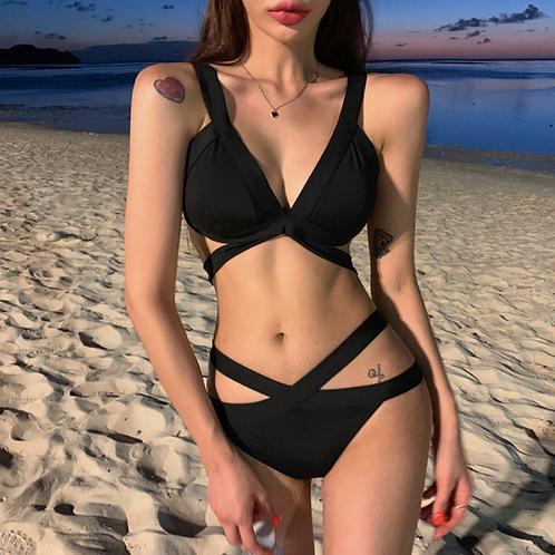 SN20569 Black Straps Bikini