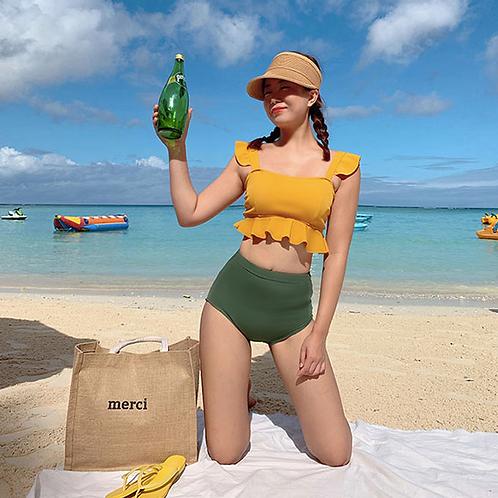 SVV1947 Yellow Flounce Top Green High waist bikini