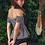 Thumbnail: SN19678 Checker Rubber Off Shoulder Top High Waist Bikini