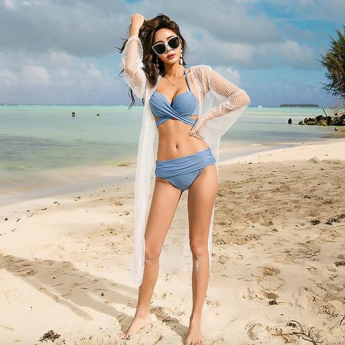 SN202018 Blue Bikini with White Outerwear