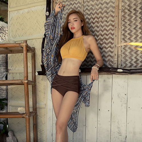 SN19633 Yellow Brown Bikini With Scarf