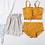 Thumbnail: SMQ1991 Yellow Singlet Top High waist Bikini w Pant 3pcs set
