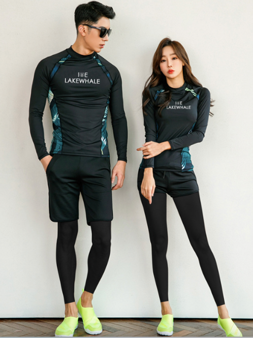 RCSN19777 Black Tropicana Couple Rash Guard set