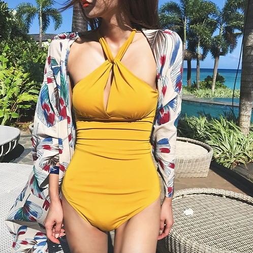 SN19435 Yellow Round Neck Monokini