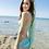 Thumbnail: SBH1565 Turquoise stripe free scarf 浅绿条纹披纱款