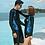 Thumbnail: RCSN192108 Black Assorted Leaf Print Rash Guard Long Pant Couple set