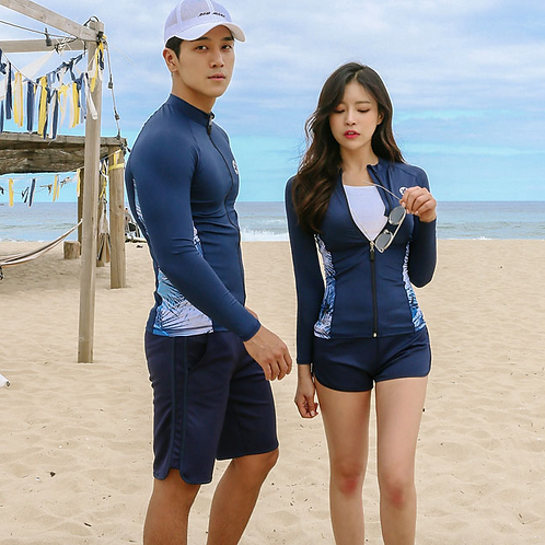 SN19221 Navy Blue Leaf Zip Couple Rash guard