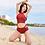 Thumbnail: RSYLH1768酒红高腰圆领比基尼