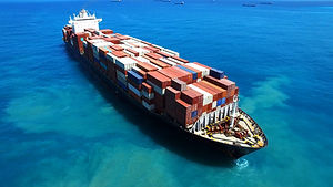 Large container ship at sea - Aerial foo