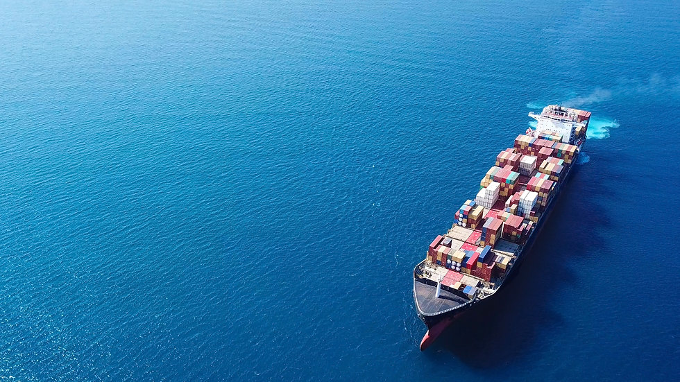 Large container ship at sea - Aerial ima