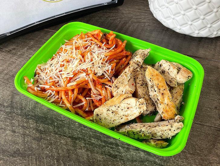 Tomato Basil Spaghetti with Herb Chicken