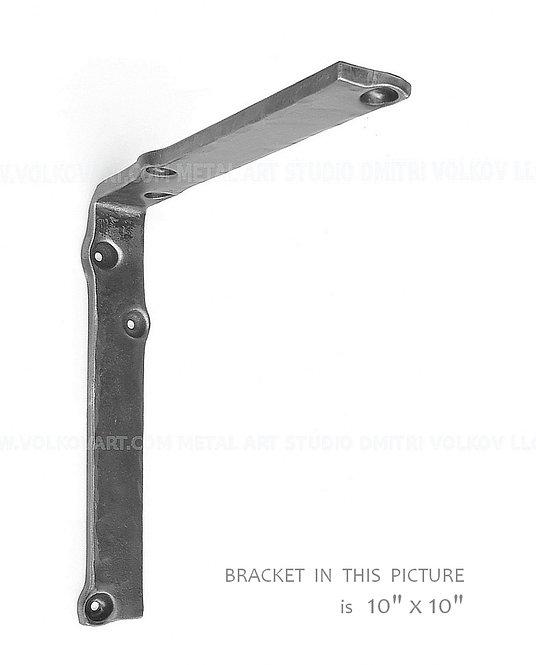 Forged Custom Metal Shelf Bracket. L-shape. Varnish Finish. Kitchen Shelving.