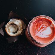 Red Beverage with Cinnamon Bun