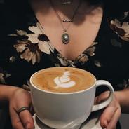Coffee with leaf design