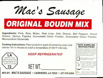 Macs Sausage-Original Boudin Mix Onions-