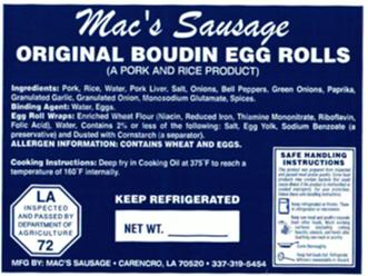 Macs Sausage-Original Boudin Egg Rolls-L