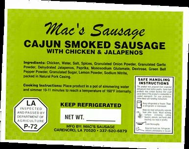 Macs Sausage-Cajun Smoked Chicken Jalape