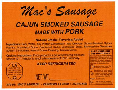 Macs Sausage-Cajun Smoked Sausage made w