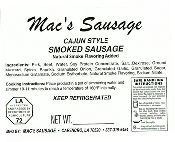 Macs Sausage-Cajun Style Smoked Sausage-