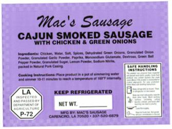 Macs Sausage-Cajun Smoked Chicken Sausag