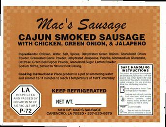 Macs Sausage-Cajun Smoked Sausage with c