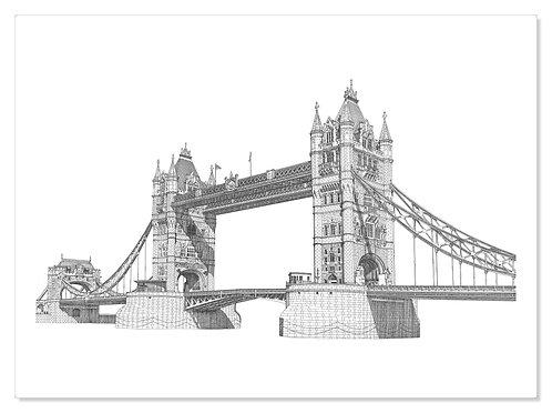 """Original Drawing """"Tower Bridge, London."""""""
