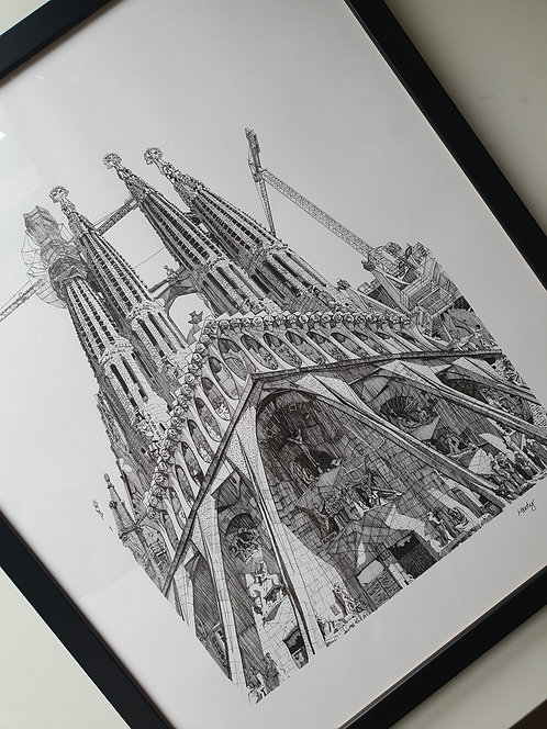 The Passion Facade, 2017. Original Artwork, Framed.