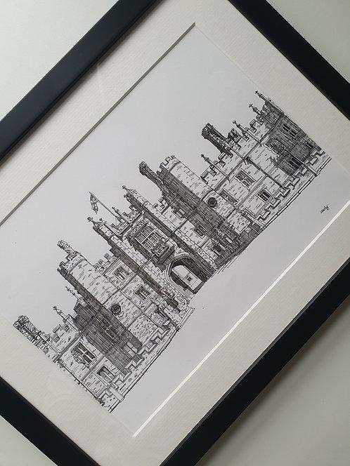 Hampton Court Palace. Original Artwork, Framed.