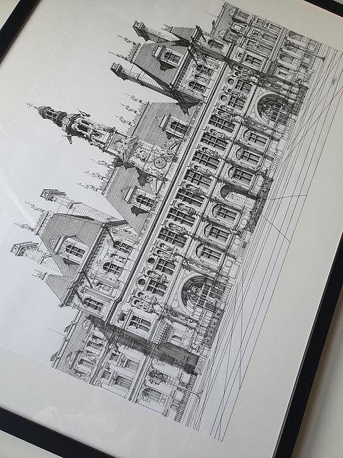 Hotel De Ville, Paris. Original Artwork, Framed.