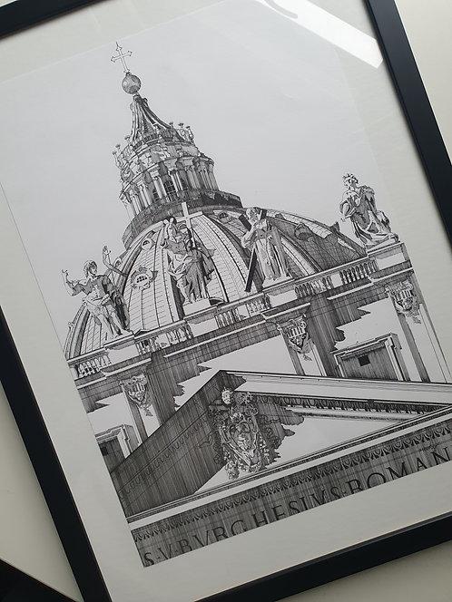St Peter's Basilica, Rome, Original Artwork, Framed..