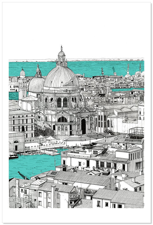 View towards Santa Maria Della Salute, Coloured.