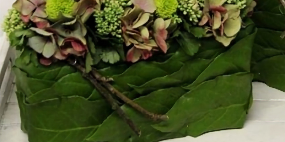 Atelier d'art floral : Le bloc végétale et hortensia
