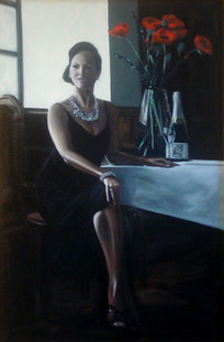 Champagne Pearls and Poppies Sitting - Oil on Canvas - 36 x 24 inches