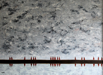 Red Cloak Reflections - Oil on Canvas - 40 x 30 inches