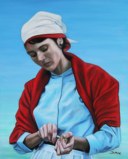 The Oyster Shucker - Oil on Canvas - 20 x 16 inches