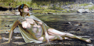 Druantia by the River - Oil on Canvas - 60 x 30 inches