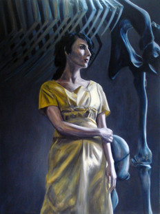 Yellow Dress & Elephant Skeleton - Oil on Canvas - 40 x 30 inches