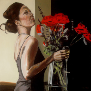 Champagne and Poppies - Oil on Canvas - 30 x 30 inches