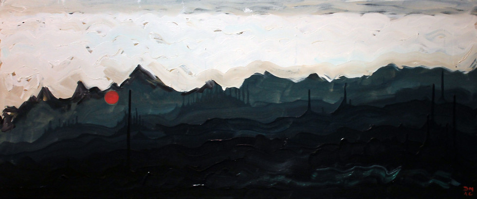 Jade Mine - Oil on Canvas - 38 x 16 inches