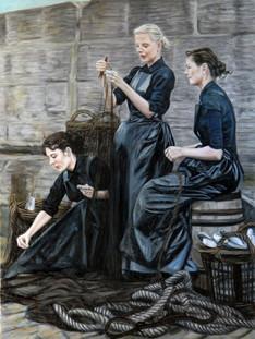 Herring Lassies Mending Nets
