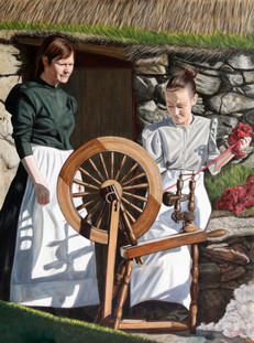 Spinning the Yarn - Oil on Canvas - 40 x 30 inches