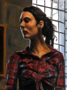 Tartan Shirt - Oil on Canvas - 16 x 12 inches