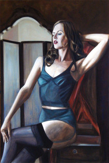 Behind the Screen - Oil on Canvas - 36 x 24 inches