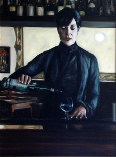 Pouring La Fee Verte - Oil on Canvas - 40 x 30 inches