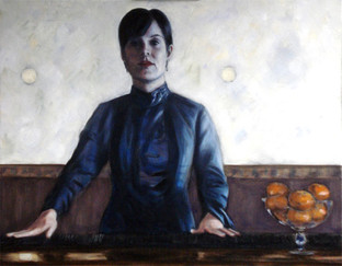 At the Counter - Oil on Canvas - 28 x 22 inches