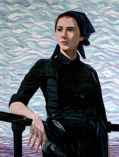 Herring Lassie at Harbour Rail - Oil on Canvas - 30 x 24 inches